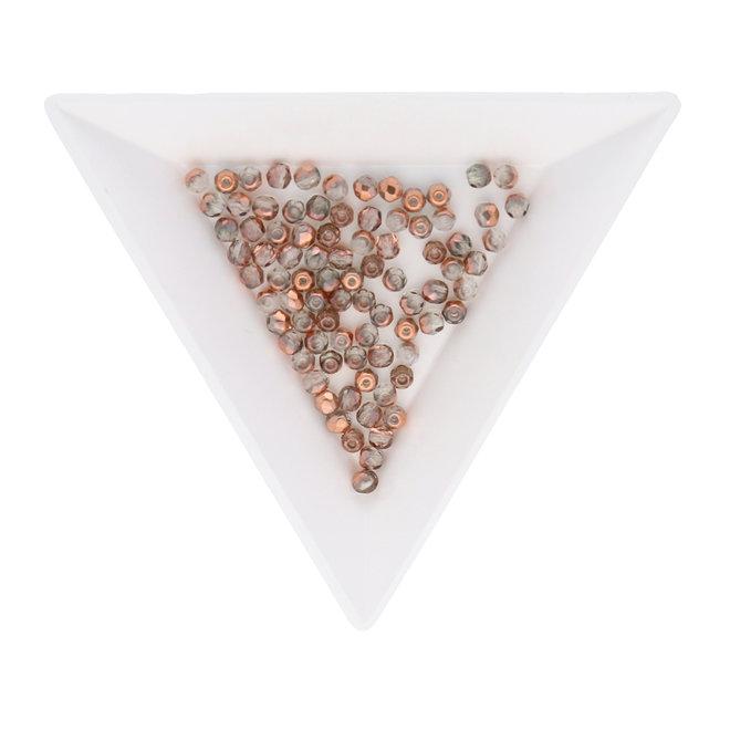 Fire polished 3 mm Glasperlen - Crystal Capri Gold