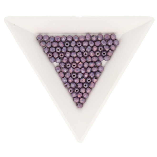 Fire polished 3 mm - Luster Opaque Amethyst
