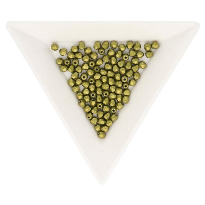 Fire polished 3 mm perles en verre - Saturated Metallic Meadowlark
