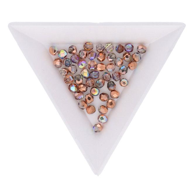Fire polished 4 mm Glasperlen - Crystal Copper rainbow