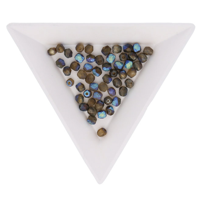 Fire polished 4 mm perline in vetro - Etched Crystal Glittery Bronze Dark