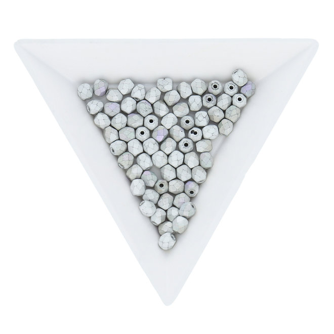 Fire polished 4 mm - Glittery matte silver