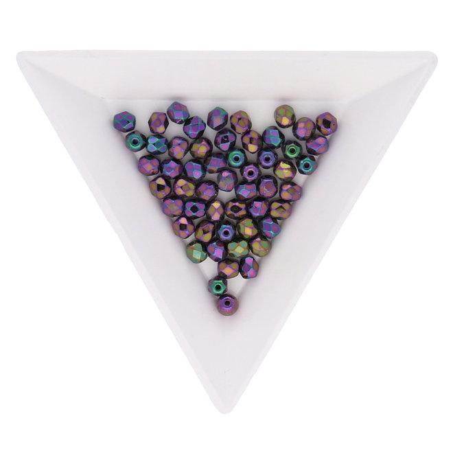 Fire polished 4 mm Glasperlen - Jet Purple Iris