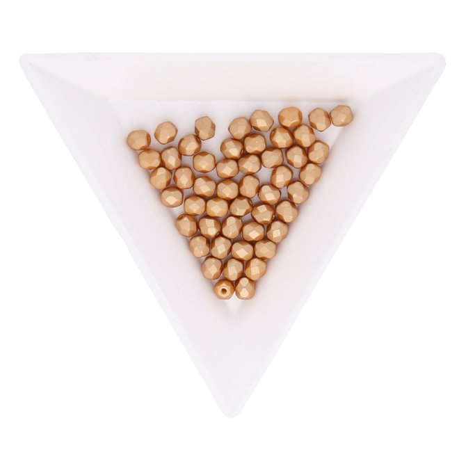 Fire polished 4 mm perles en verre - Pastel Amber