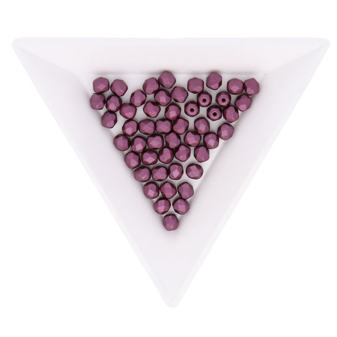 Fire polished 4 mm Glasperlen - Pastel burgundy