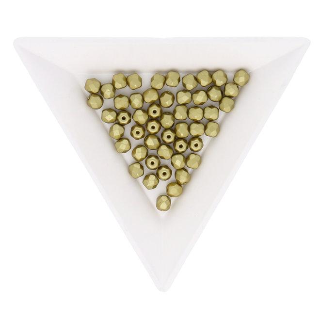 Fire polished 4 mm perles en verre - Pastel lime