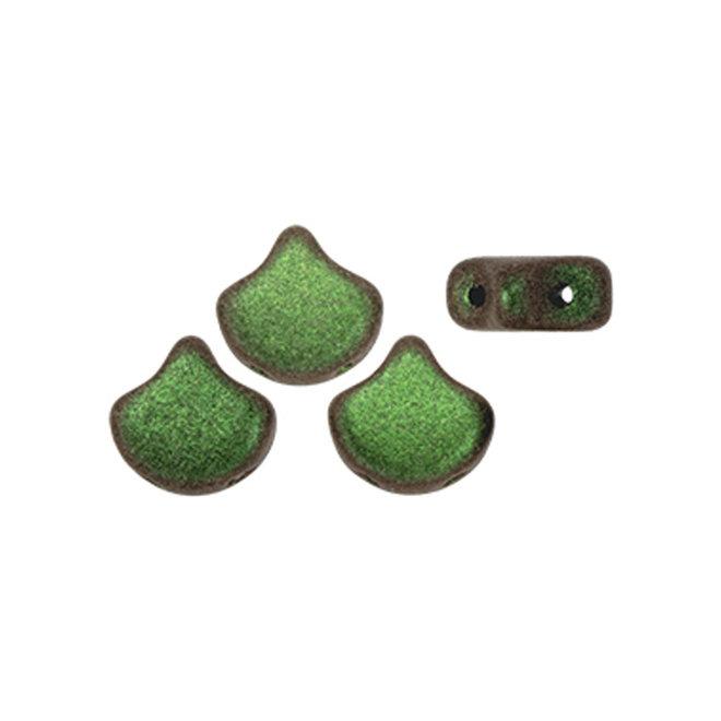 Ginkgo Leaf Bead - Polychrome - Olive Mauve