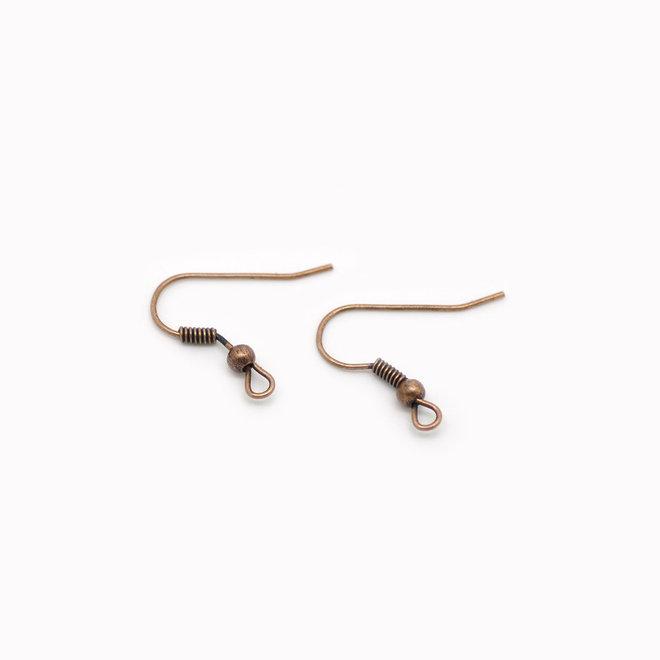 Ohrbügel für Ohrringe mit Kugel – Farbe Kupfer antik