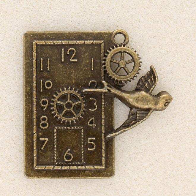 Anhänger Steampunk «Uhr und Schwalbe»