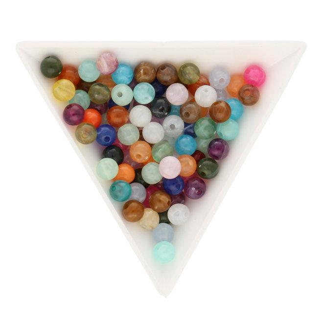 DUO VERT 14 mm 5 Perles Synthétiques MÉTALLISÉ