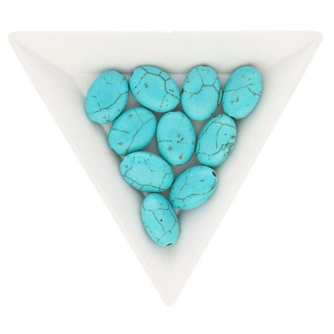 Ovale Perle aus synthetischem Türkis – 13 x 10 mm