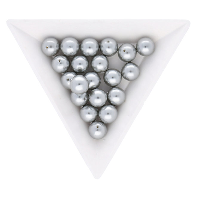 14 mm MÉTALLISÉ DUO GRIS 5 Perles Synthétiques