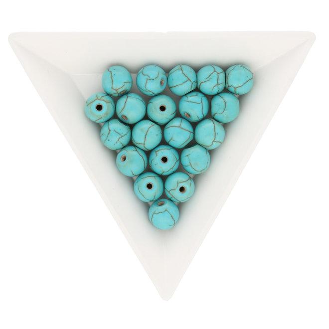 Runde Perle aus synthetischem Türkis