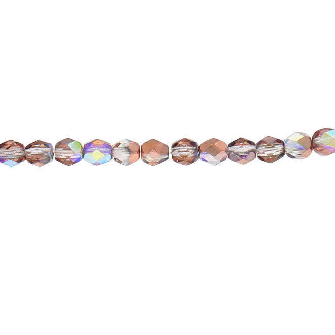 Fire polished 4 mm perles en verre - Crystal Copper rainbow