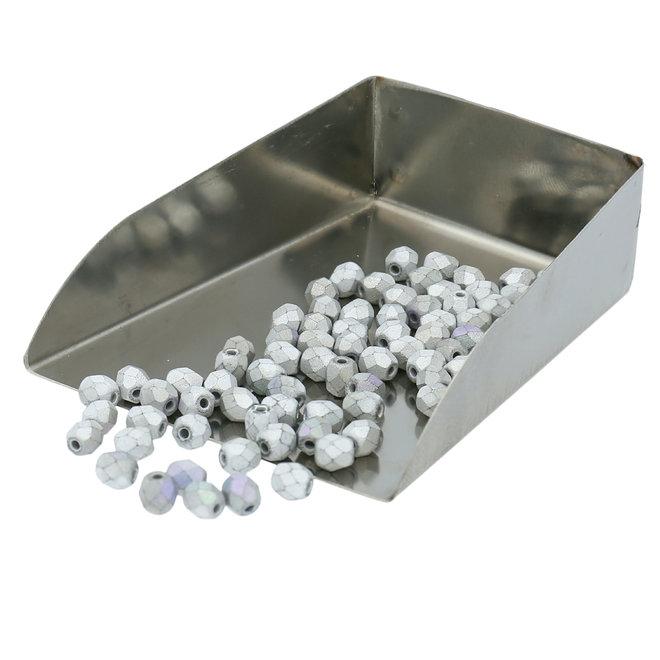 Fire polished 4 mm Glasperlen - Glittery matte silver