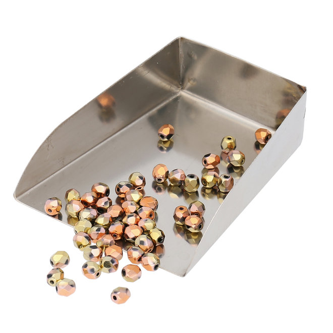 Fire polished 4 mm Glasperlen - Jet California Gold Rush