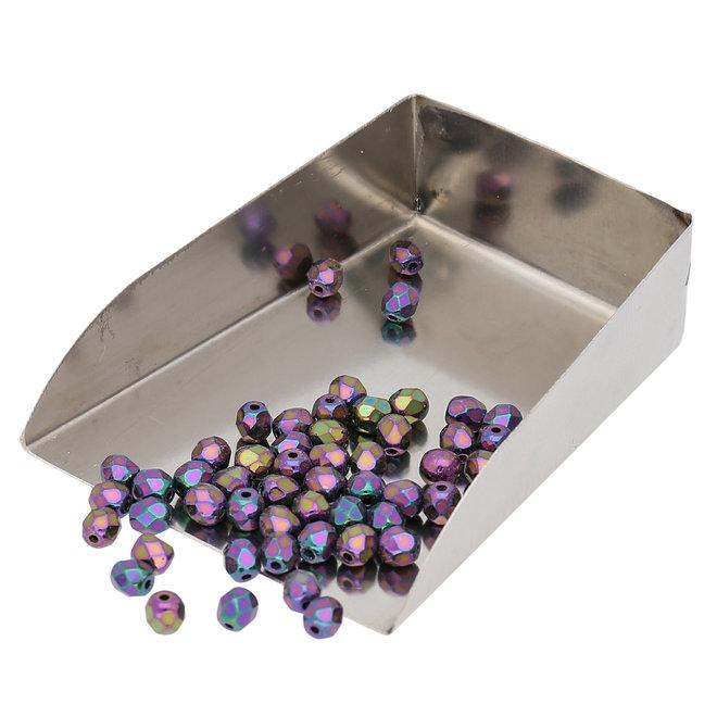 Fire polished 4 mm perles en verre - Jet Purple Iris