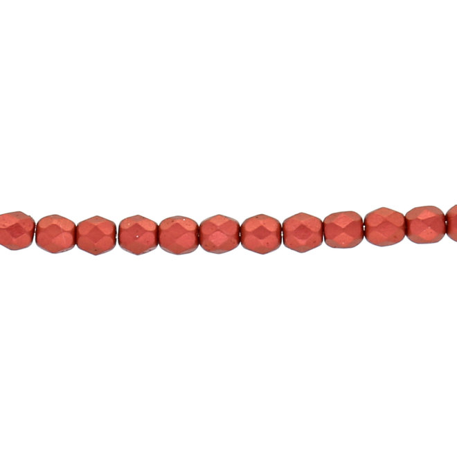 Fire polished 4 mm perles en verre - Lava Red