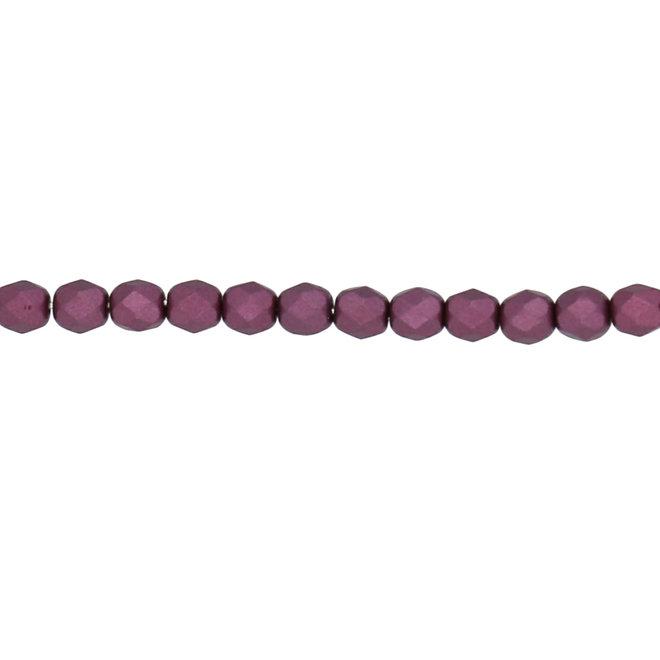 Fire polished 4 mm perles en verre - Pastel burgundy