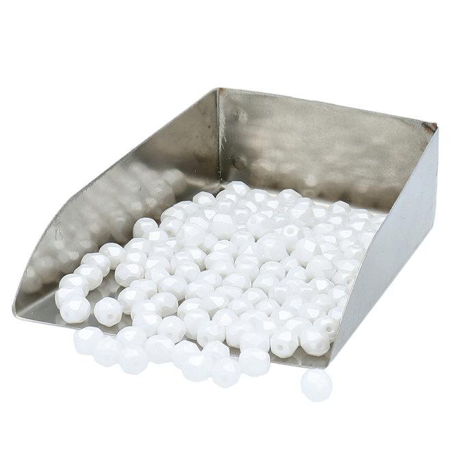 Fire polished 4 mm perles en verre - Pastel White