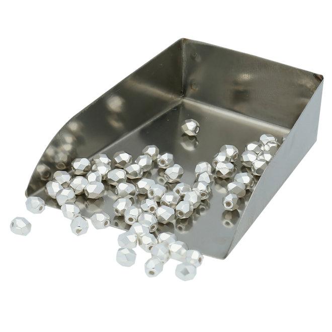 Fire polished 4 mm perles en verre - Silver Plate