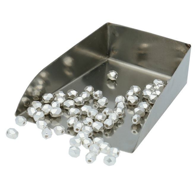 Fire polished 4 mm perline in vetro - Silver Plate