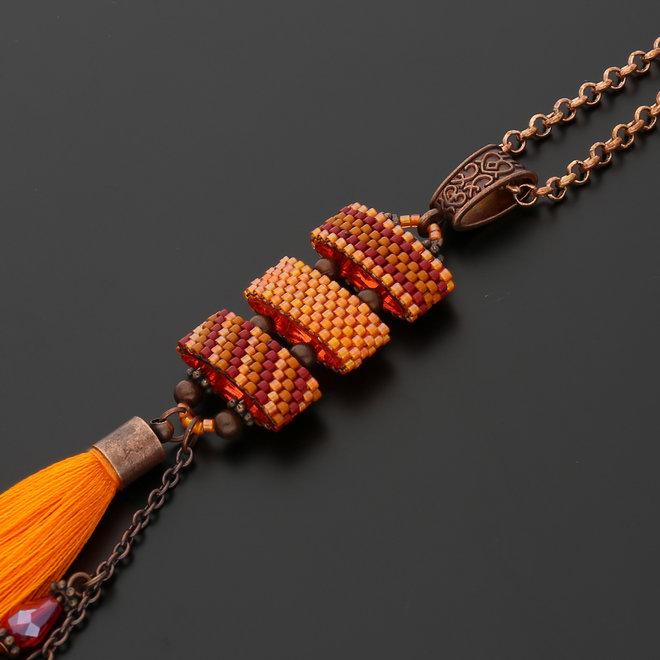 Bélière, attache-pendentifs style tibétain - cuivre rouge