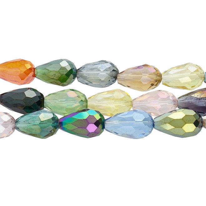 Gouttes à facettes 15 x 10 mm - Mélange de couleurs