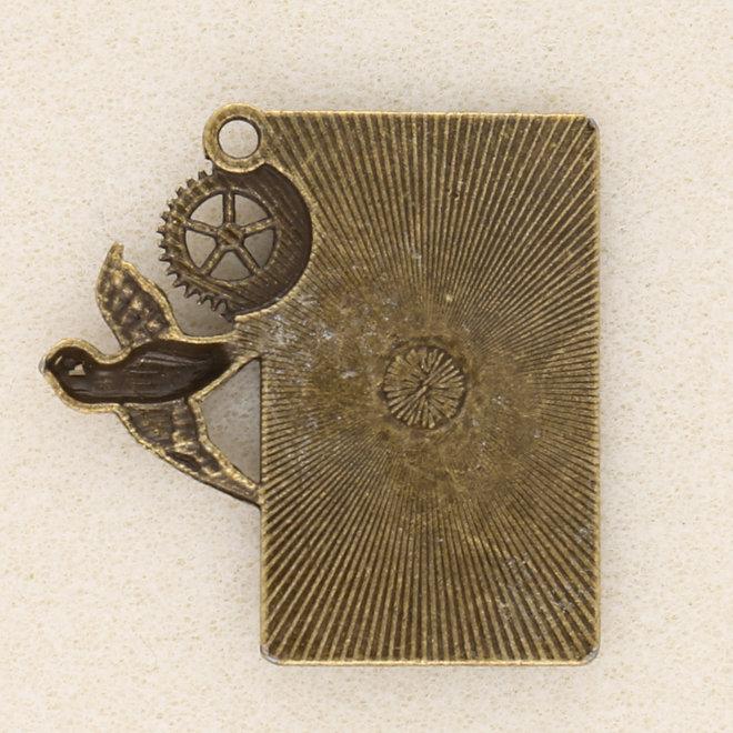 Anhänger Steampunk «Uhr und Schwalbe» - Bronze antik