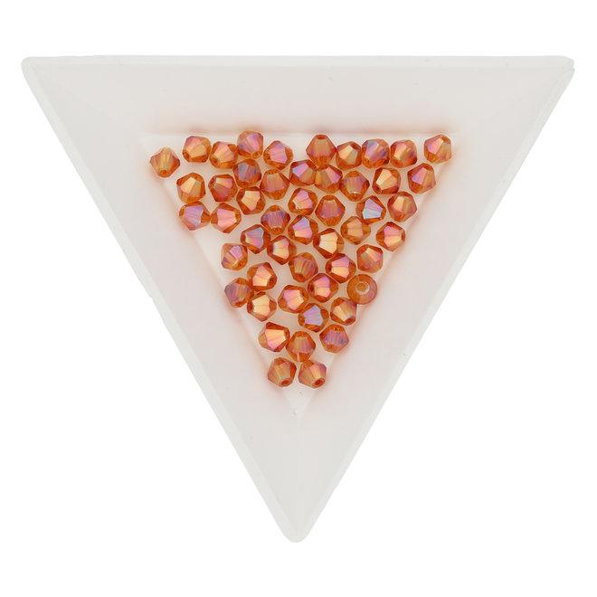 Bicône 4 mm – en verre - Orange Rainbow