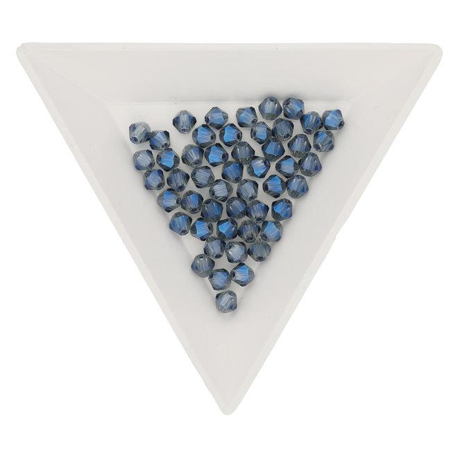Bicono 4 mm – in vetro - Blue Rainbow