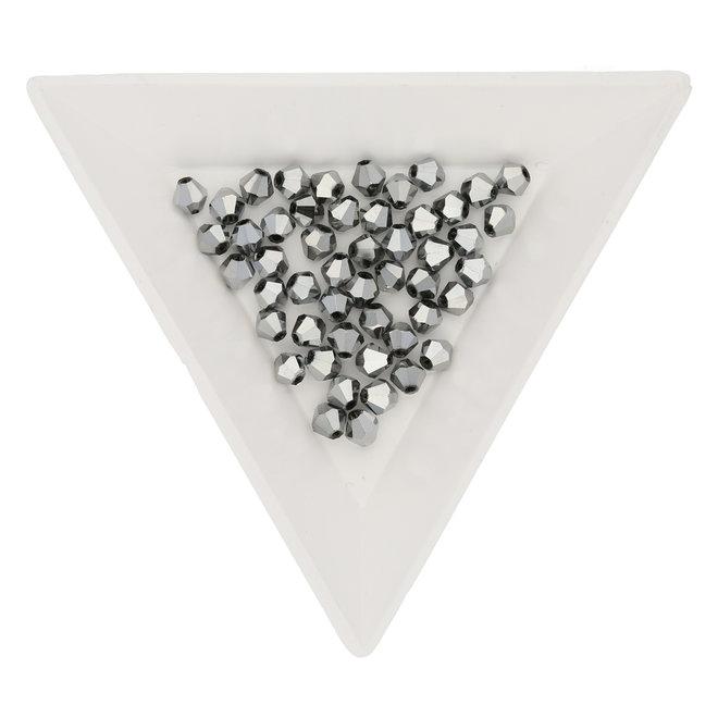Doppelkegel 4 mm – aus Glas - Metallic Silver