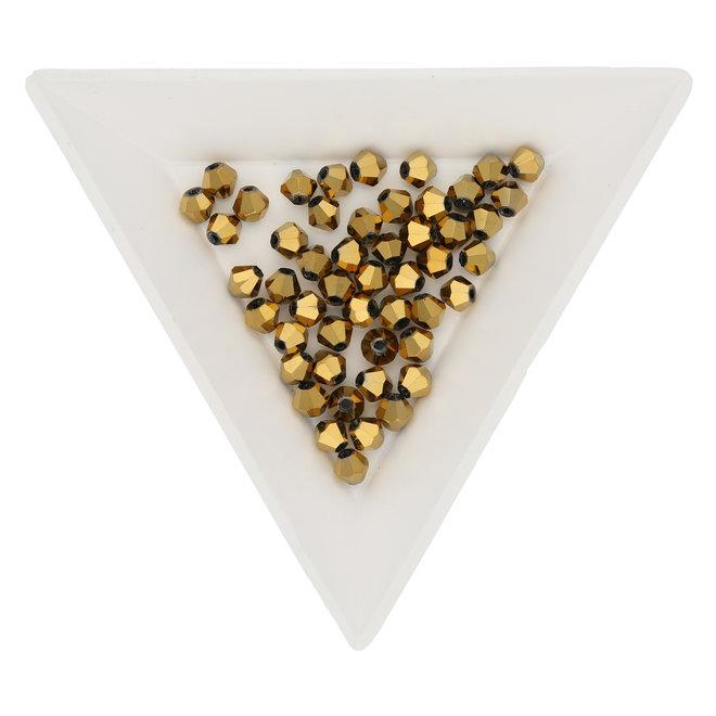 Doppelkegel 4 mm – aus Glas - Metallic Gold