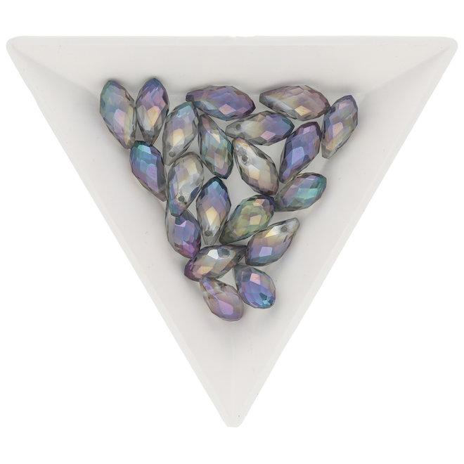 Briolette Glasperlen mit seitlichem Loch - Lila