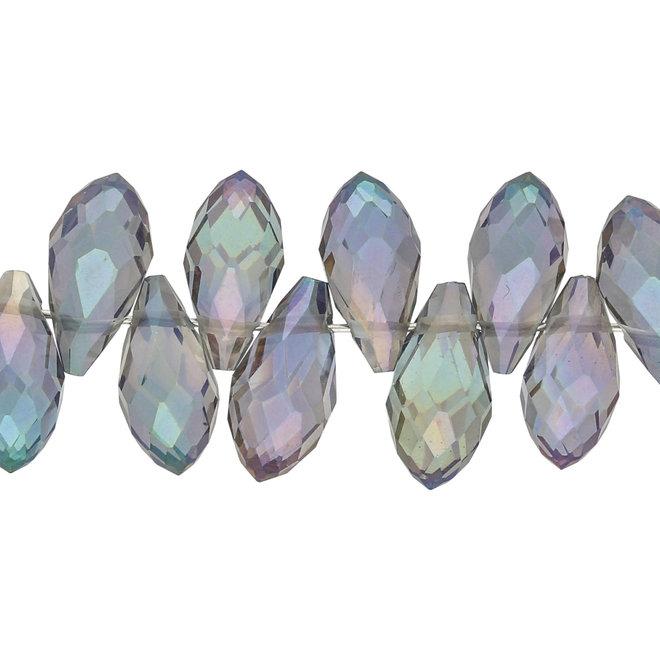 Briolettes Glasperlen mit seitlichem Loch 12x6 mm - Lila
