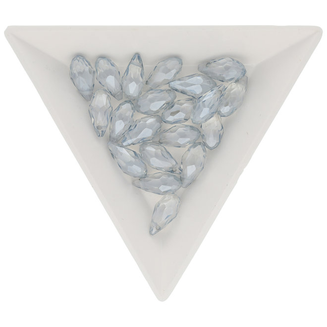 Briolette Glasperlen mit seitlichem Loch - Light Grey