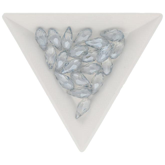 Briolettes Glasperlen mit seitlichem Loch 12x6 mm - Light Grey