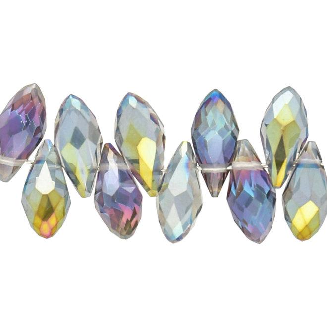 Briolettes in vetro con foro laterale 12x6 mm - Multicolor
