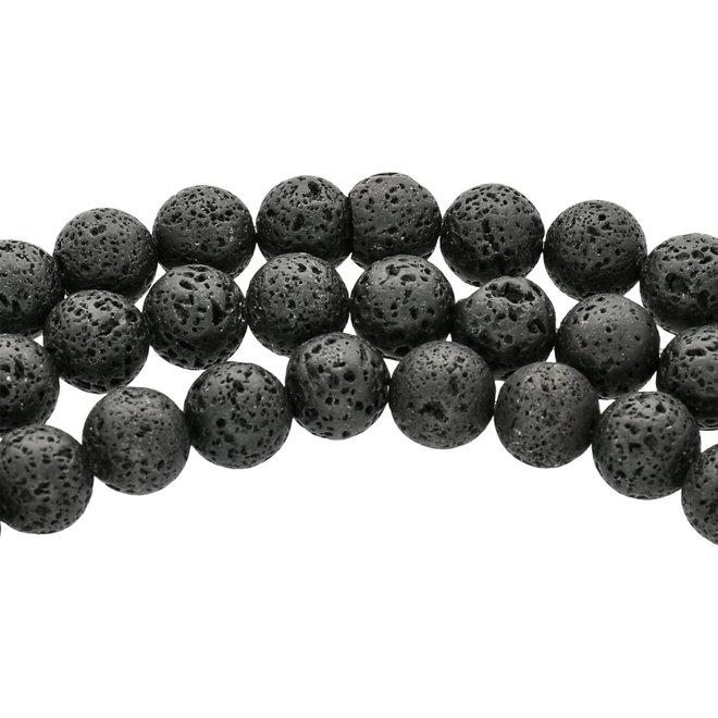 Perline rotonda in pietra lavica – 10 mm