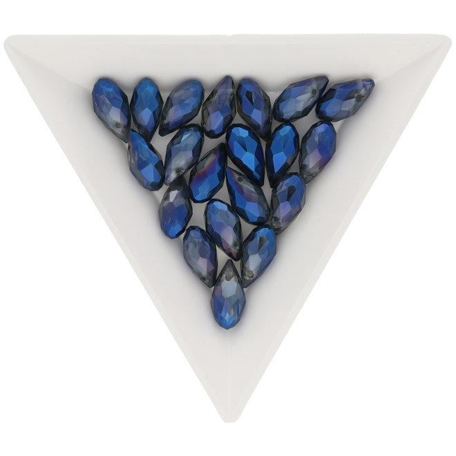 Briolette Glasperlen mit seitlichem Loch - Blue