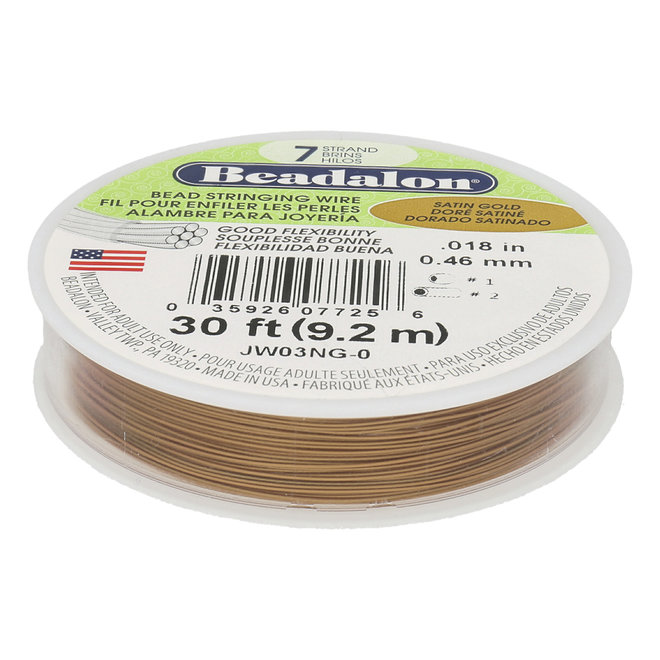 7-fadiges Beadalon-Stahlkabel - Satin Gold - 9,2 m Spule