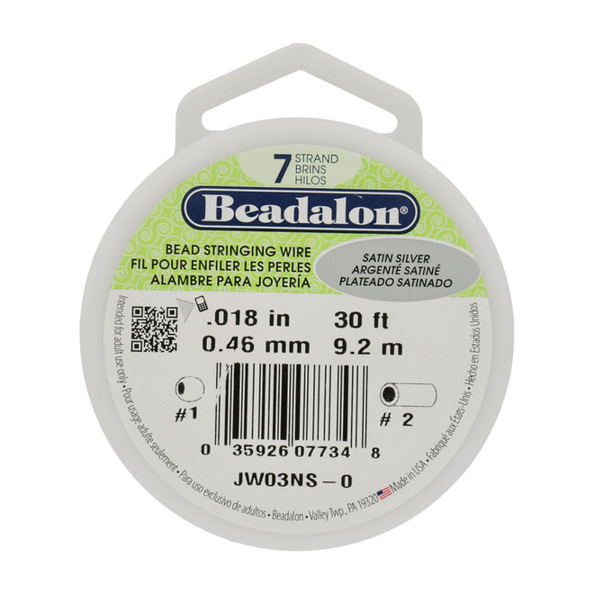 7-fadiges Beadalon-Stahlkabel - Satin Silver - 9,2 m Spule