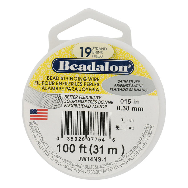 Cavetto in acciaio Beadalon 19 fili – Satin Silver - bobina 31 m
