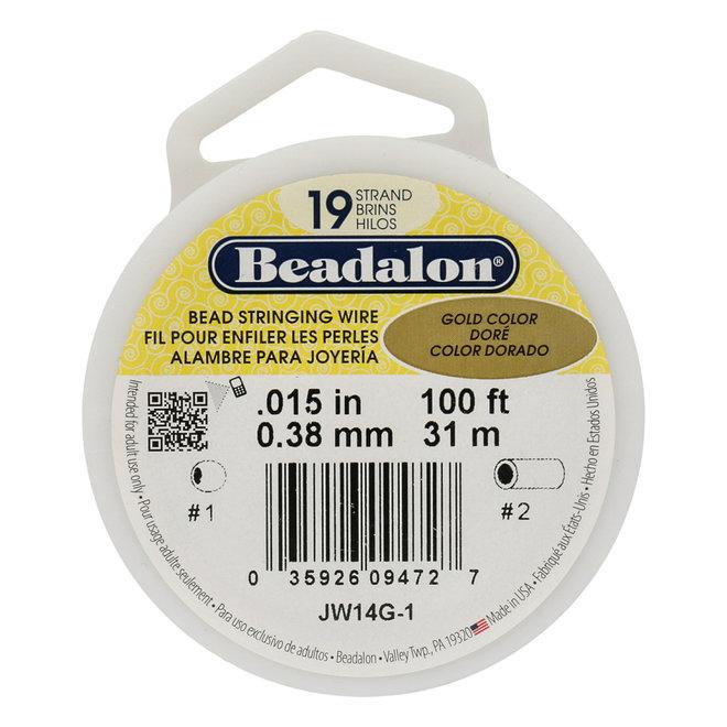 19-fadiges Beadalon-Stahlkabel - Satin Gold - 31 m Spule