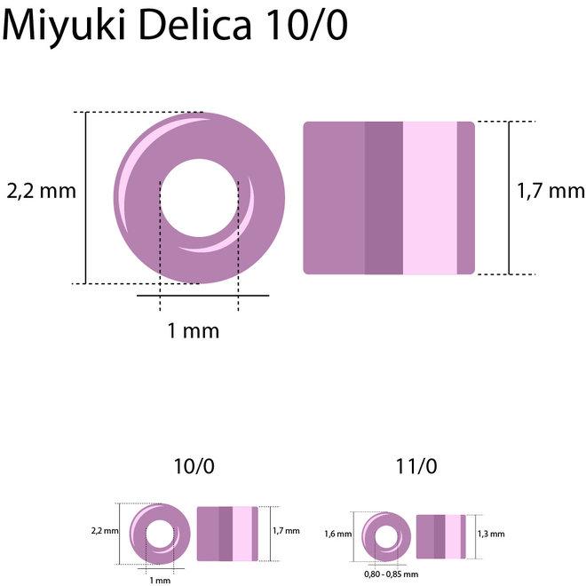 Miyuki Delica 10/0 - DBM0105 - Gold Luster Transparent Red