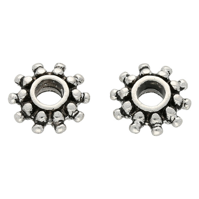 Metallperle im tibetischen Stil 9 x 3 mm- Antiksilber