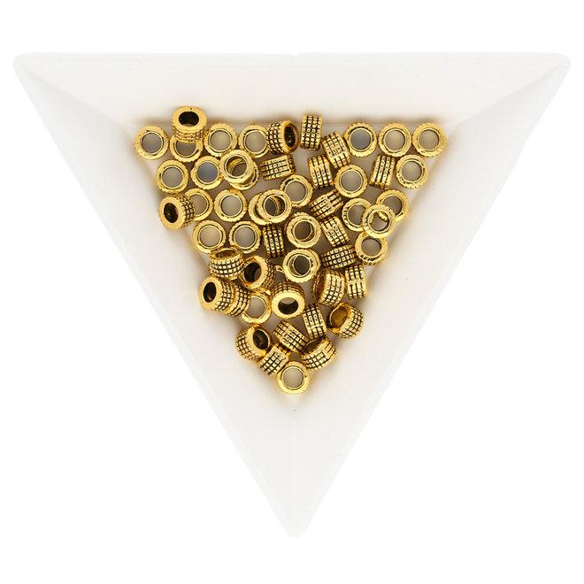Metallperle im tibetischen Stil 5 x 3 mm - Antikgold