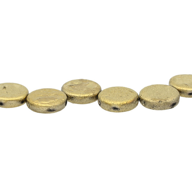 Coin 14 mm perle en verre – Etch Jet Full Amber