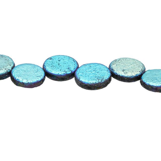 Coin 14 mm perlina in vetro – Etch Jet Full AB