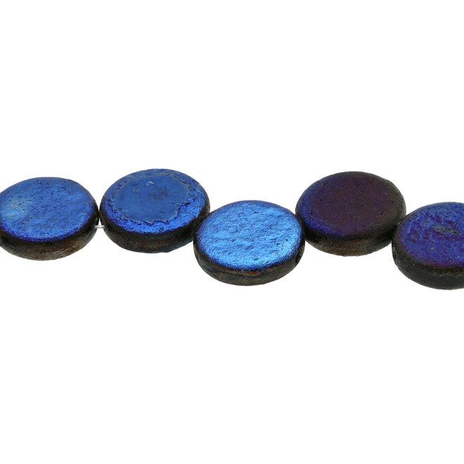 Coin 14 mm Glasperle  – Etch Jet Full Azuro